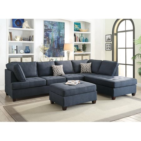 Dark Blue Dorris Fabric Smooth Textured Sectional Sofa Chaise 2pcs Set Tufting Couch Living Room