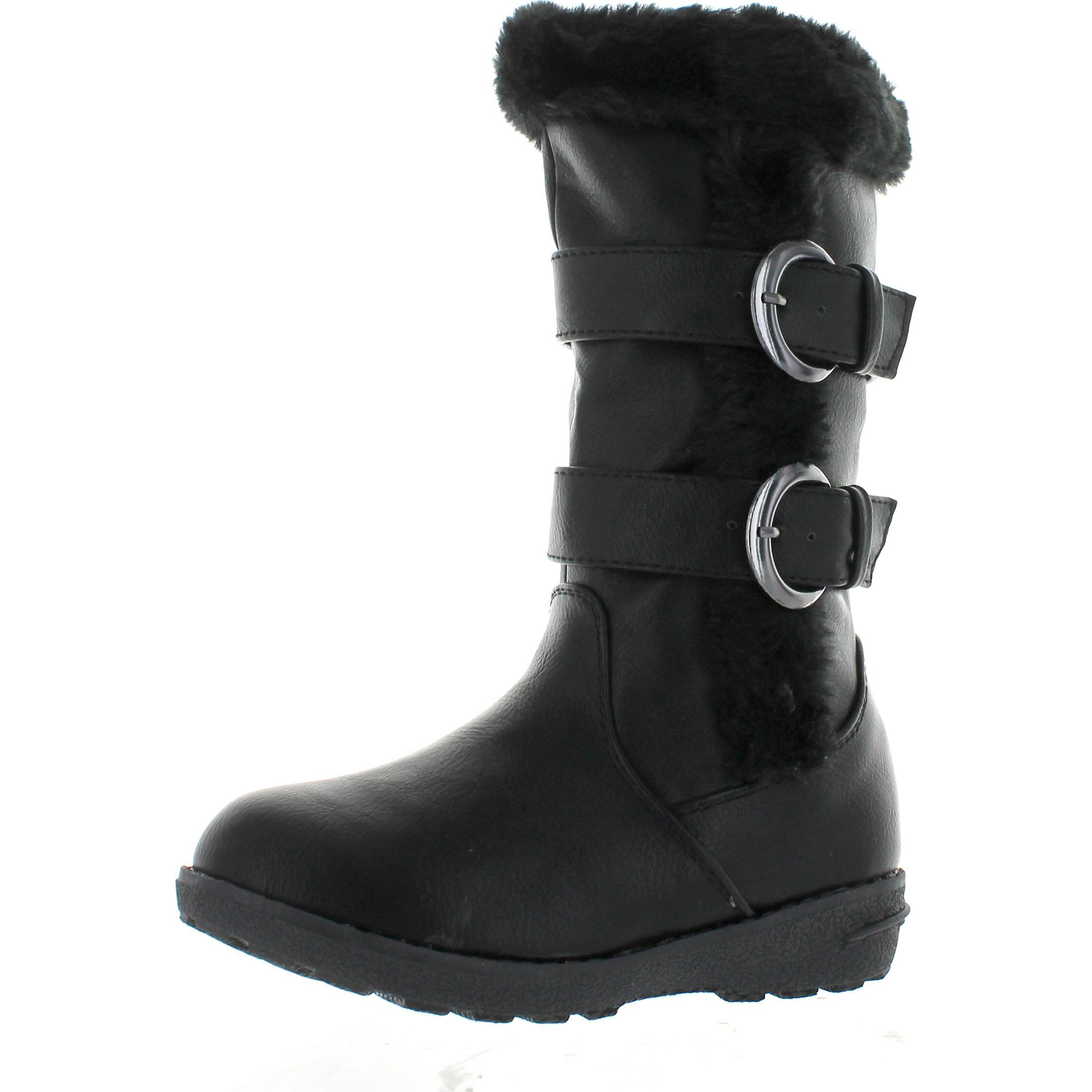 Click here to buy Lucky Top Youth-1K Children Girl's Low Heel Double Buckle Knee High Snow Boots by Static Footwear.
