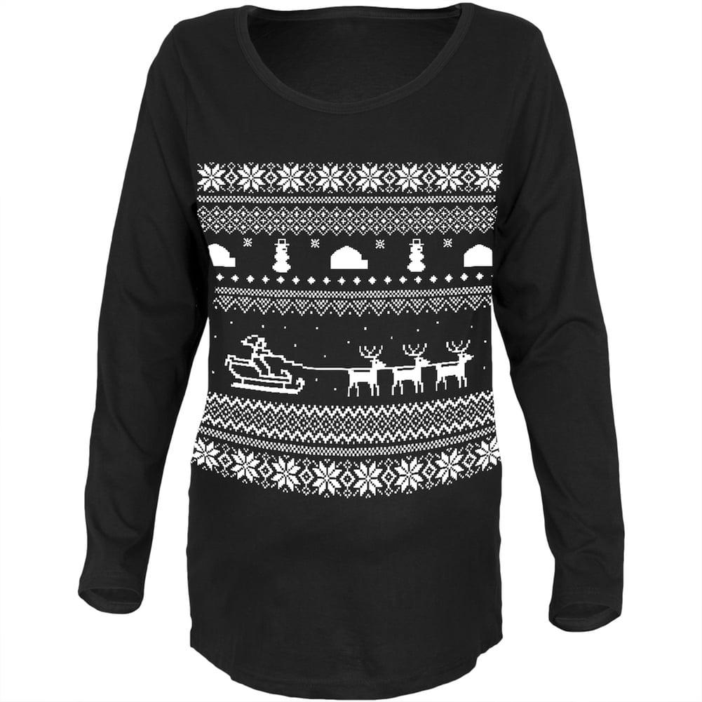 Santa Sleigh Ugly Christmas Sweater Black Womens Soft Maternity Long Sleeve T-Shirt
