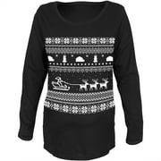 Santa Sleigh Ugly Christmas Sweater Black Womens Soft Maternity Long Sleeve T-Shirt - X-Large