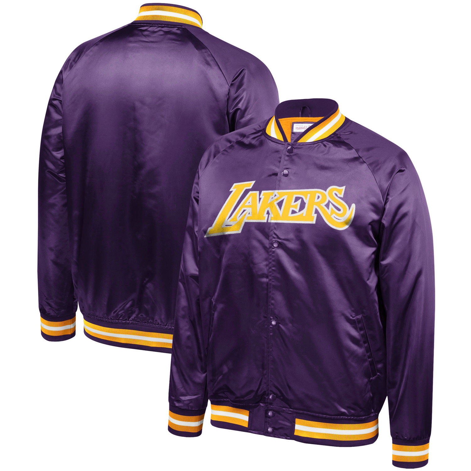 Los Angeles Lakers Mitchell & Ness Hardwood Classics Throwback Wordmark Satin Jacket - Purple
