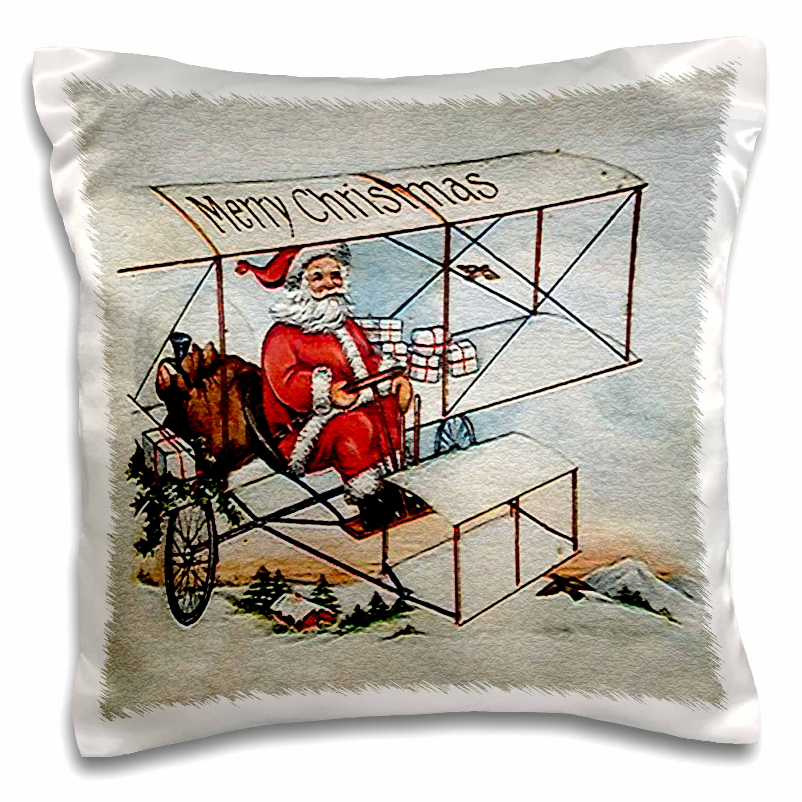 3dRose Merry Christmas Santa Flying a Vintage Box Kite Plane Image, Pillow Case, 16 by 16-inch