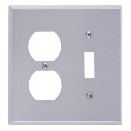 Satin Brass Double Handlebar - BRASS Accents M07-S4540-619 Quaker Switch & Outlet Double Combo Satin Nickel Switchplates