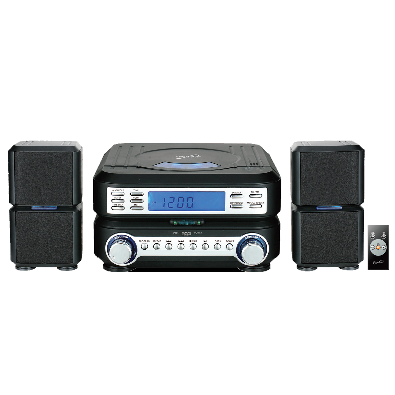 Supersonic Portable Micro System with BT ,CD Player, AUX Input & AM FM Radio by Supersonic