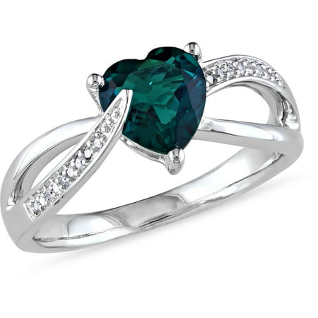 Created Emerald Cross - 1 Carat T.G.W. Created Emerald and Diamond-Accent Sterling Silver Cross-Over Heart Ring