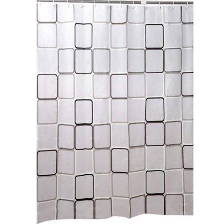Tinymills 12 Hooks Waterproof Shower Curtain Bathroom Liners PEVA Plastic Decor 180cmx186cm (Bathroom Shower Curtains Plastic)