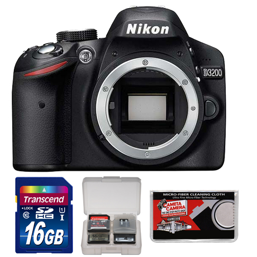 Nikon D3200 Digital SLR Camera Body (Black) - Factory Refurbished with 16GB Card + Accessory Kit