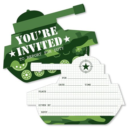 Camo Invitations (Camo Hero - Shaped Fill-In Invitations - Army Military Camouflage Party Invitation Cards with Envelopes - Set of)