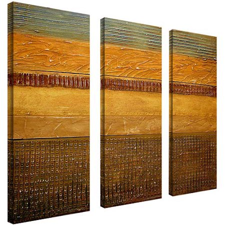 Trademark Fine Art Earth Layers Canvas Art By Michelle Calkins 3 Piece Panel Set 8x24
