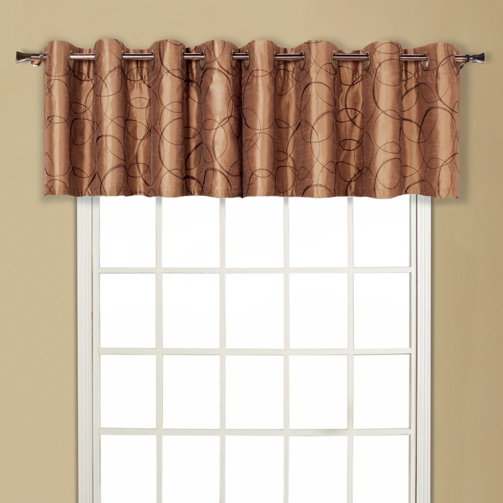 valance trumpet combo of stripe beige gold embossed riya curtain