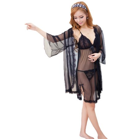 25a75e66628a BASILICA - Nightie Set w  Sheer Chemise and Robe with Matching Panties -  Walmart.com