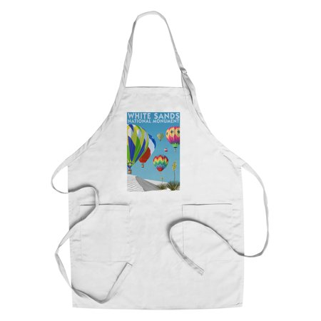 White Sands National Monument  New Mexico   Hot Air Balloons   Lantern Press Poster  Cotton Polyester Chefs Apron