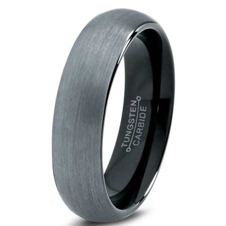 Tungsten Wedding Band Ring 6mm for Men Women Comfort Fit Black  Domed Brushed Lifetime Guarantee