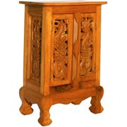 AsiaEXP Handcarved Acacia Wood Storage Cabinet/Nightstand, Intricate Oriental Dragons Design