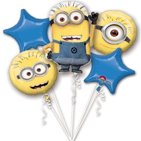 Despicable Me Minions Character Authentic Licensed Theme Foil Balloon Bouquet (Minion Ballons)