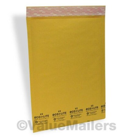 100 #2 KRAFT 8.5X12 ECOLITE BUBBLE MAILERS PADDED ENVELOPES, 100 10X13 CLR BAGS