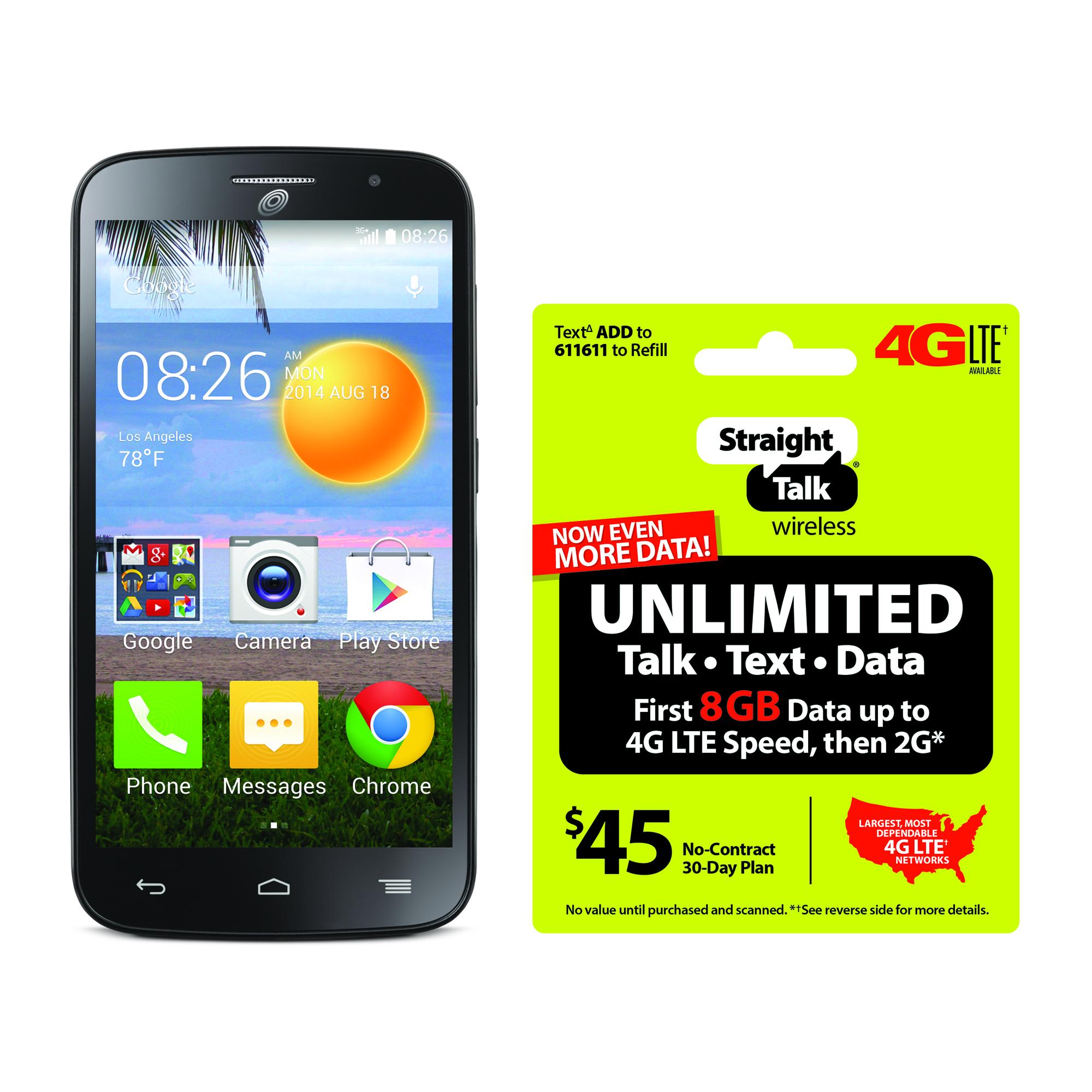 Refurbished Straight Talk Alcatel Prepaid Onetouch Icon Pop Smartphone with BONUS $45/30-Day Plan