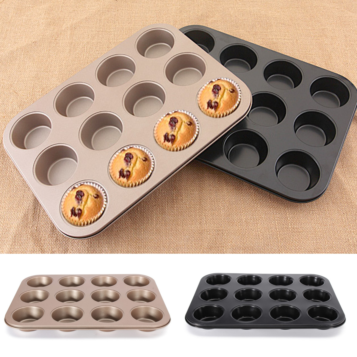 Meigar Large 12 Cup Carbon Steel Muffin Cupcake Mold Nonstick Bakeware Baking Pan Tray