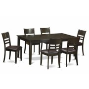 East West Furniture HELY7-CAP-W 7 Piece Dining Set-Dining Room Set-Table and 6 Dinette Chairs