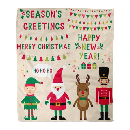 HATIART Throw Blanket 58x80 Inches Christmas Characters Santa Elf Reindeer Nutcracker and Lettering Text in Hand Warm Flannel Soft Blanket for Couch Sofa Bed - image 1 of 1