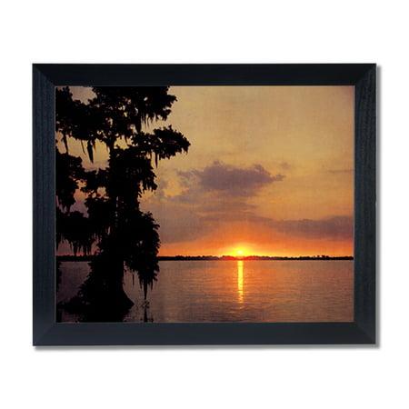 Ocean Lake Beach Sunset Landscape Wall Picture Black Framed Art Print
