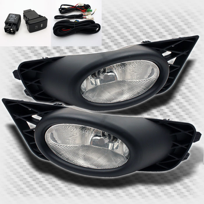 2009-2011 Honda Civic 4 Door Bumper Fog Lights Lamps+Switch+Bulbs Wiring Pair 2010 Pair Left+Right