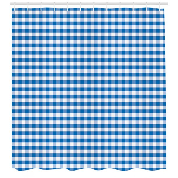 Checkered Shower Curtain Monochrome Gingham Checks Classical Country Culture Old Fashioned Grid Design Fabric Bathroom Set With Hooks Blue White By Ambesonne Walmart Com Walmart Com