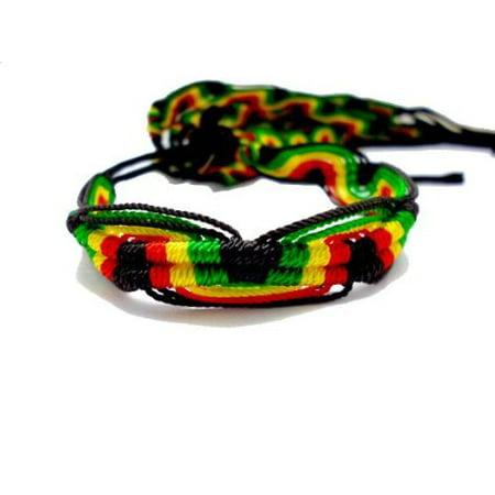 - Friendship Flat Bracelets Rasta Colors- SET OF 5- From Peru