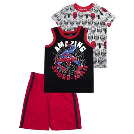 Spider-Man Muscle Tank, tee, and Shorts, 3-Piece Outfit Set (Little Boys)