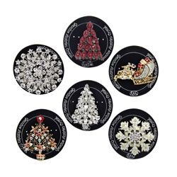 Kurt Adler Christmas Enamel Pin Assortment 2, 6 Assorted