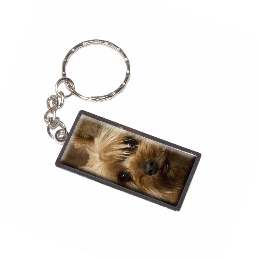 Yorkie two tone Dog Keychain