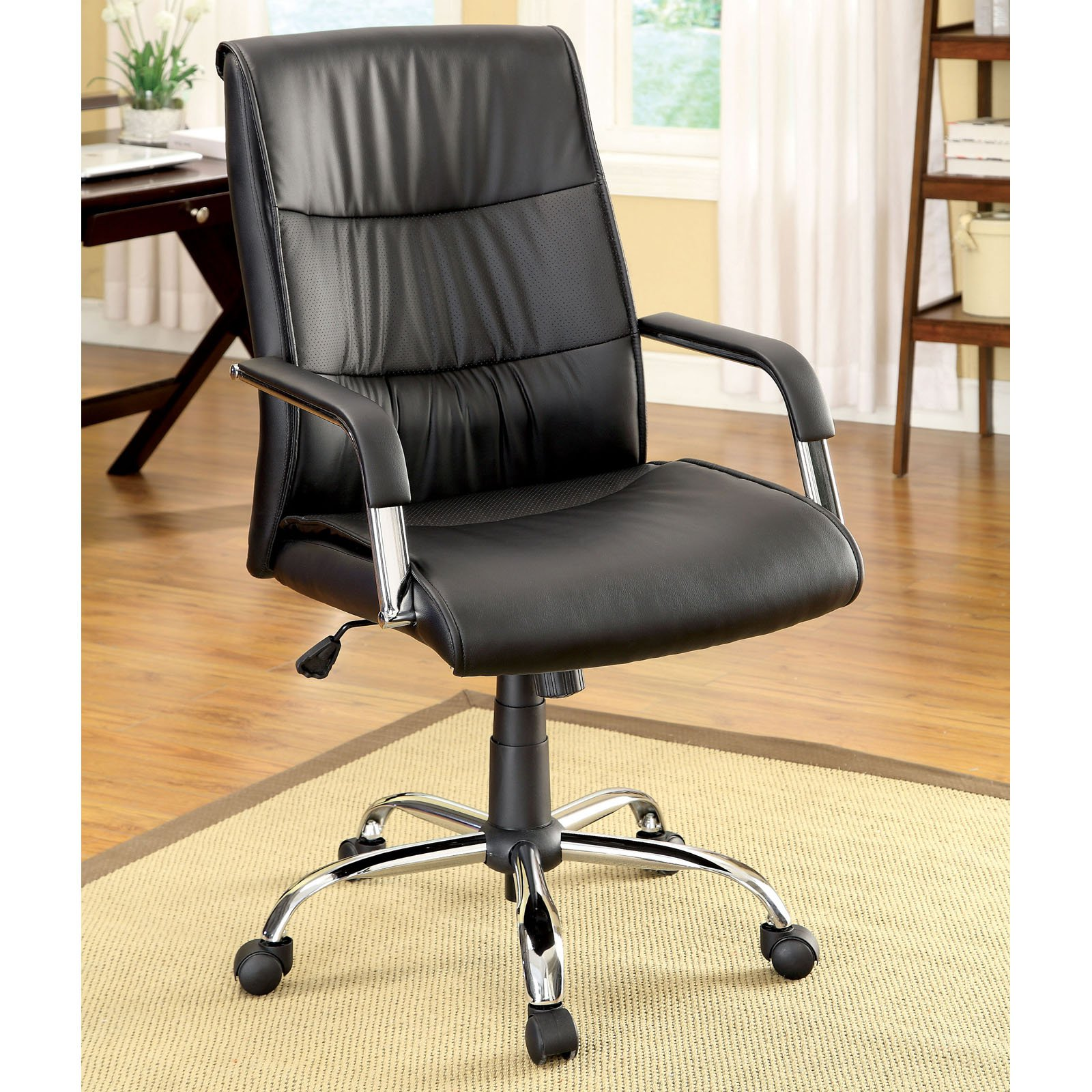 Furniture of America Ellis Padded Leatherette Office Chair - Black