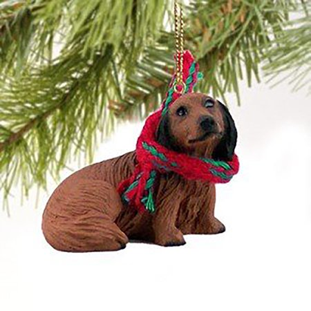 Conversation Concepts Dachshund Miniature Dog Ornament, Red Longhaired