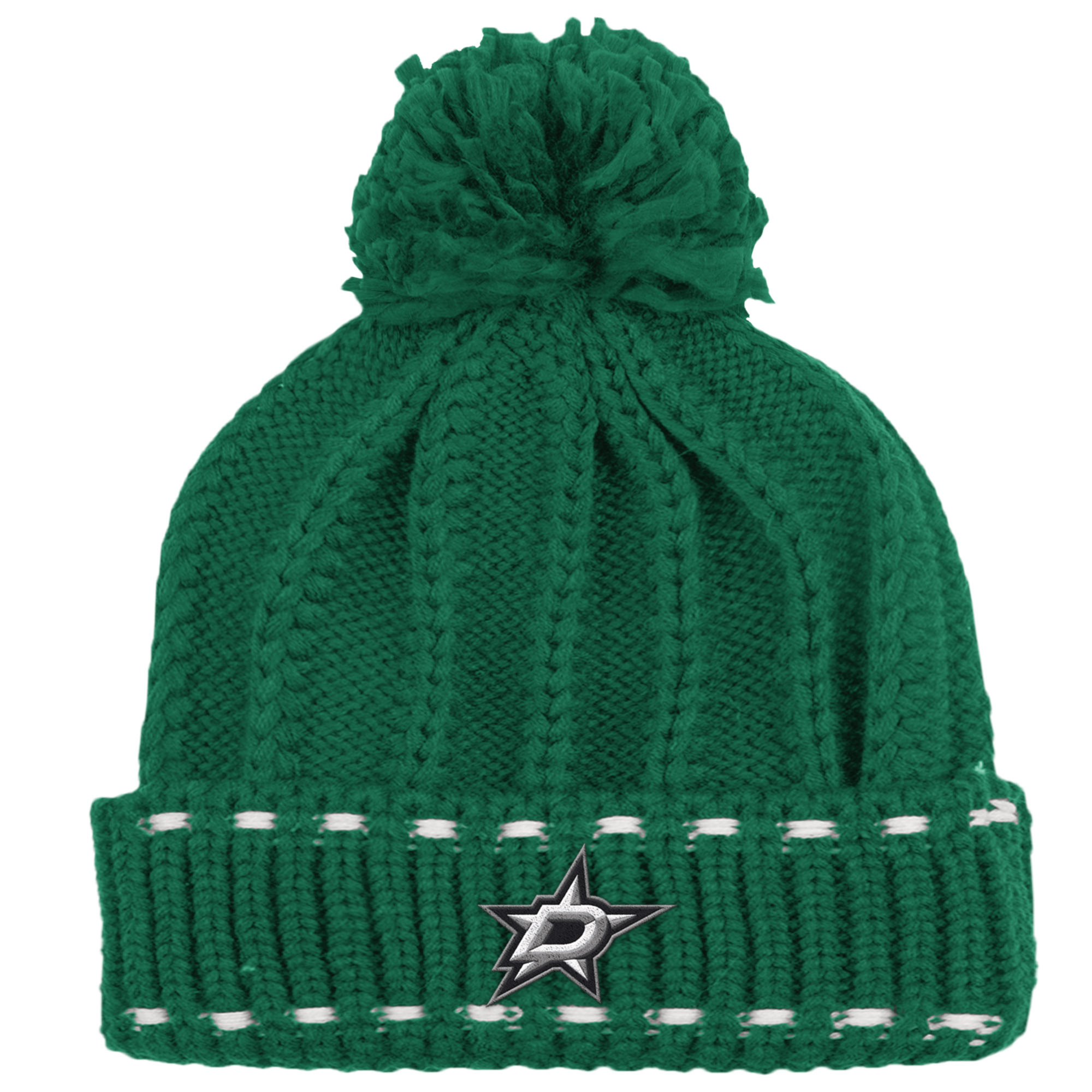 Dallas Stars Reebok Women's Cuffed Pom Knit Hat - Green - OSFA