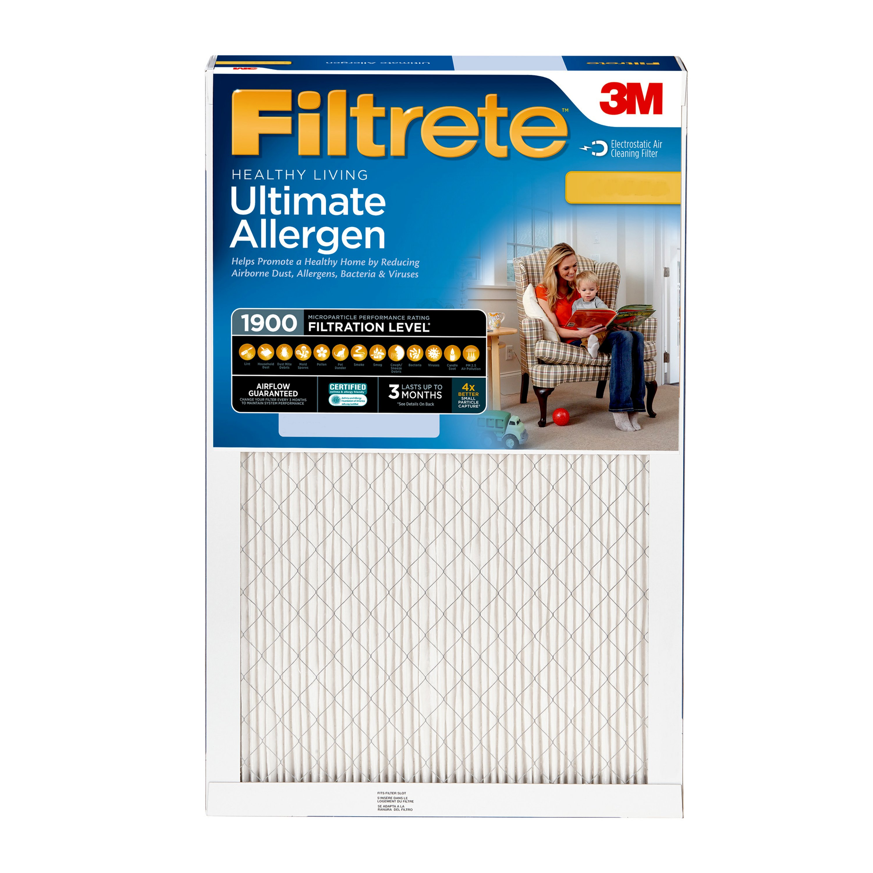 Filtrete Healthy Living Ultimate Allergen Reduction HVAC Furnace Air Filter, 1900 MPR, 16 x 25 x 1, 1 Filter by 3M COMPANY