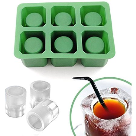 IClover Silicone Ice Shot Glass Mold, 6 cups Square Green Ice Cube Tray,Jelly Tray ,Chocolate Mold ,Food Grade Silicone Ice Shot Party Pub