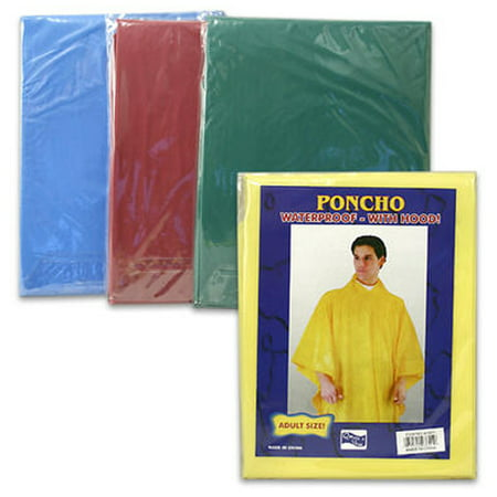 Yellow Rain Poncho (4 Rain Coat Travel Emergency Hoodie Survival Reusable Poncho Hiking Gear)