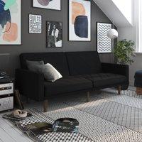 Bellamy Studios Cornwall Linen Futon, Split-Back Sofa Bed, 3 Positions, Black