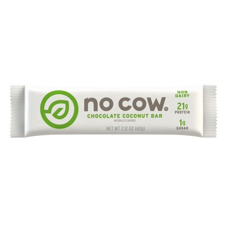 No Cow Protein Bar Chocolate Coconut, Plant Based Protein (21g), Low Sugar, Dairy Free, Gluten Free, Vegan, 12 Count