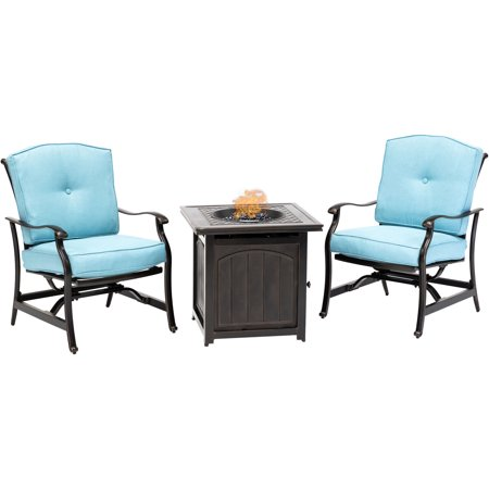 Hanover Traditions 3-Piece Fire Pit Chat Set in Blue with 2 Cushioned Rockers and a 26-In. Square Fire Pit Side Table ()
