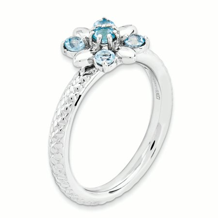 Sterling Silver Stackable Expressions Blue Topaz Ring Size 7 - image 2 of 3