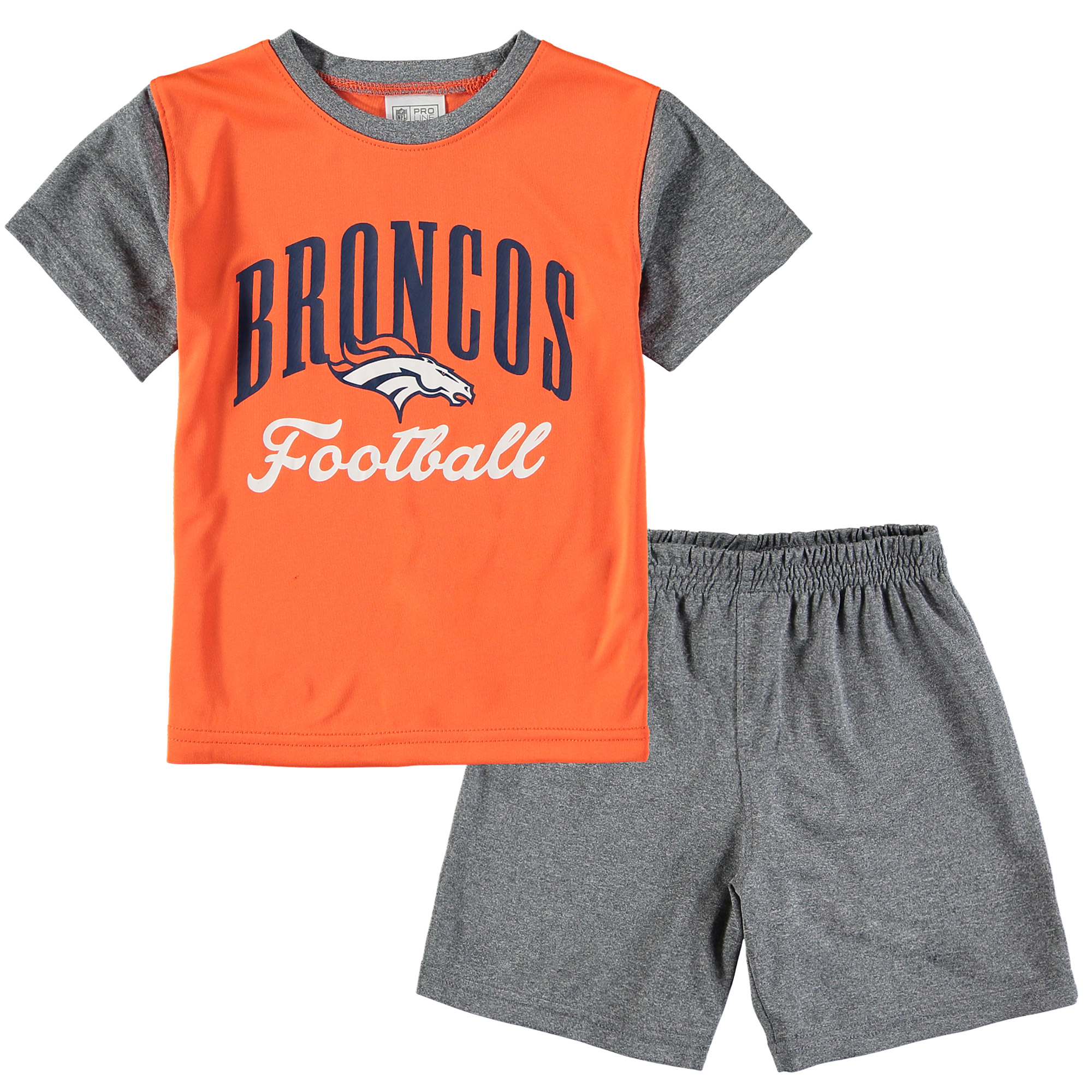 Denver Broncos NFL Pro Line by Fanatics Branded Toddler Two-Piece Victory Script T-Shirt and Short Set - Orange/Heathered Gray