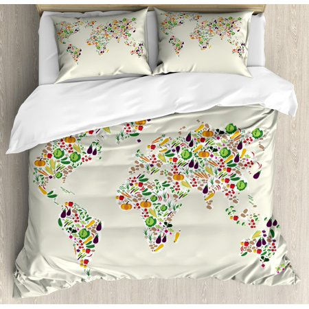 Vegan Duvet Cover Set King Size, Map of the World Designed with ...