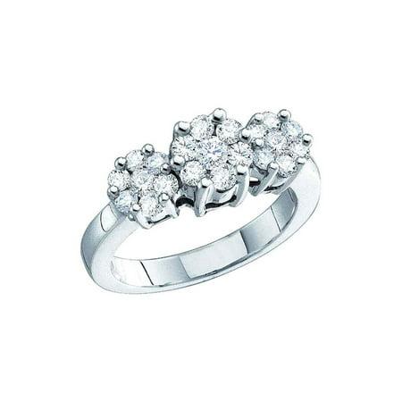 10kt White Gold Round Diamond Triple Flower Cluster Ring 1/4 Cttw