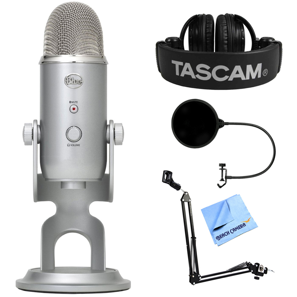 Blue Microphones Yeti Ultimate USB Microphone Silver (YETI) + Tascam Closed-Back... by Blue Microphones