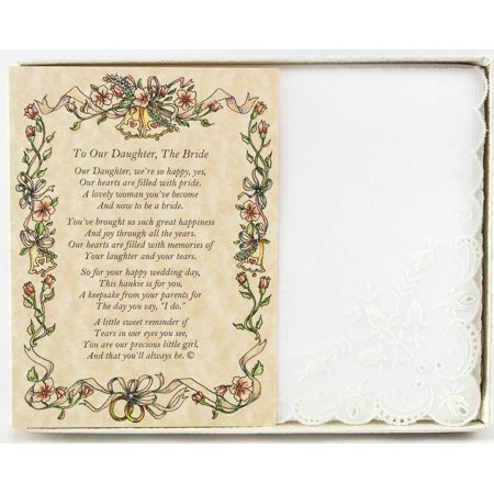 Poetry Hankie From the Parents of the Bride to their Daughter Wedding Handkerchief, High quality wedding supplies, low prices By Wedding (Father Of The Bride Handkerchief)