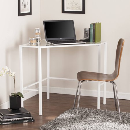 Southern Enterprises Kalel Glass Corner Desk in White