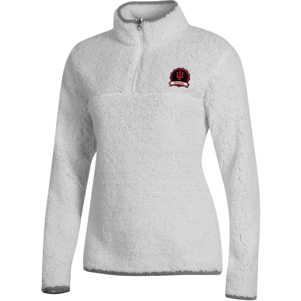 Women's Russell White Indiana Hoosiers Sherpa Quarter-Zip Pullover Jacket