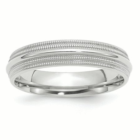 10k White Gold 5mm Double Milgrain Comfort Fit Band Ring