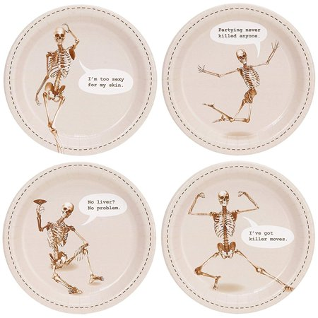 Halloween Skeleton Party Supplies Appetizer Cake Plates (32), includes (8) dessert plates to match your party theme. Each paper plate measures.., By BirthdayExpress - Halloween Pizza Appetizers